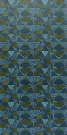Original 70er Jahre Tapete mit geometrischem Muster von der dänischen Tapetenfabrik Fiona
