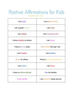 Positive Affirmations for Everyone; FREE PRINTABLE - These positive affirmations for kids are great to cut out and put in their lunch boxes. Get the free printable! Positive Affirmations For Kids, List Of Affirmations, Affirmations Positives, Positive Self Talk, Positive Discipline, Positive Thoughts, Coping Skills, Social Skills, Kids And Parenting