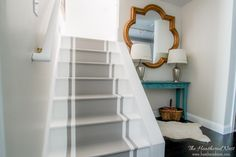 Painted stairs are a great DIY solution to an otherwise expensive problem. And they look great! Learn how to paint stairs in this DIY blog post!