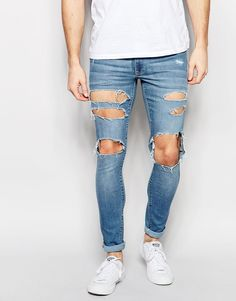 ASOS Extreme Super Skinny Jeans With Extreme Open Rips