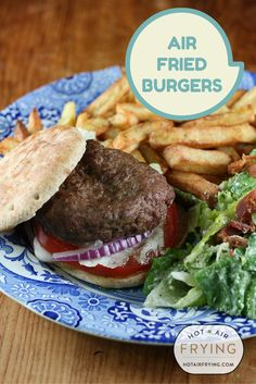 These are the best darn hamburgers you'll ever make at home, bar none. And the healthiest ever too but shhh -- no one needs to know, they won't care, the burgers are just that good when they are air-fried. #actifry #airfryer