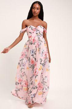815fc4cbedc02b Harmonious Love Blush Floral Print Off-the-Shoulder Maxi Dress