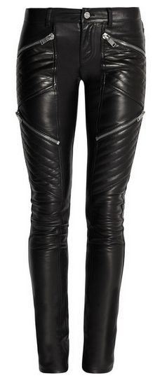 "Fabulous leather skinny pants again by Saint Laurent. ""Saint Laurent's sleek biker pants are crafted from the finest Italian leather. Cleverly placed asymmetric zips and quilted panels streamline your figure for a flawless silhouette."""