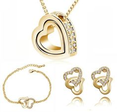 Double Heart necklace earrings Jewelry Sets - Online Global Shopping Centre