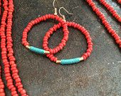 beaded wire loop earrings, coral seed beads with gold filled tube beads wrapped with turquoise thread - favorite colors!