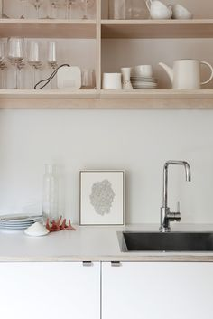 Going for this look in a new kitchen?  We can help you find similar glass and dish ware to complete the look!