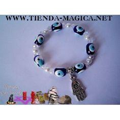 26177da8fa13 Pulsera ojos turcos con perlas y rondeles AB