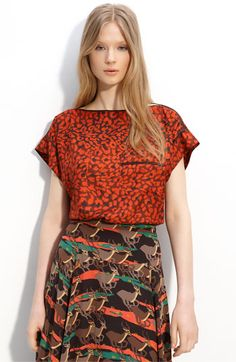 Marc by Marc Jacobs Jungle Silk Blouse and Running Impala Silk Midi Skirt