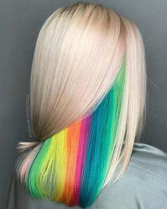 Hidden Rainbow Hair Color Idea # rainbow Hair 21 Unicorn Hair Color Ideas We're Obsessed With Hair Dye Colors, Hair Color Blue, Cool Hair Color, Rainbow Hair Colors, Colorful Hair, Creative Hair Color, Maquillage Phosphorescent, Hidden Rainbow Hair, Hidden Hair Color