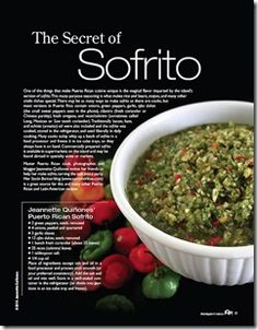 Sofrito ... you can make in a blender for the whole week or freshly hand chopped for one dish at a time (my personal preference)