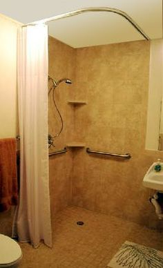 source for ceiling-mounted Shower Rods: Handicapped / Barrier Free Ceiling Shower Curtain Rod Big Shower, Shower Rods, Shower Curtain Rods, Large Shower, Shower Floor, Shower Curtains, Ada Bathroom, Bathroom Red, Small Bathroom