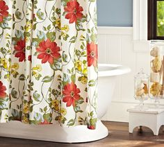 """Organify your bathroom! Start with this beautiful and colorful floral """"Sophia"""" organic shower curtain from Pottery Barn! ($59.00)"""