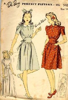"""A teenager's dress pattern, circa 1944. I love the cummerbund waist and the gathered shoulder yokes, reminiscent of my ladies' 1940s """"Swing"""" Dress Pattern. Note the option for a confirmation dress at the lower left-hand corner."""