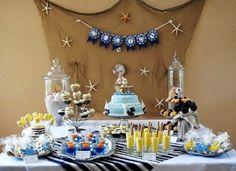 Nautical-inspired baby showers are one of the most popular themes we see. It's a theme that lends itself to so many cute ideas for food presentation and decor. This Nautical Baby Shower was sent in from Maylene of Malu Boutiques and is done in a classic yellow and blue with hints of tan that