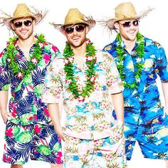 Be the best dressed bum on the beach in this fantastic short and shirts combo - and add a hat for that totally tropical taste. Luau Outfits, Outfits Fiesta, Beach Party Outfits, Hawaii Outfits, Themed Outfits, Hawaiin Party Outfit, Tropical Party Outfit, Aloha Party, Party Fiesta