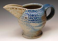 Salty Jugbird  2014  Gillian McMillan Salt-fired stoneware Earthenware, Stoneware, My Images, Salt, Fire, Mugs, Tableware, Dinnerware, Tumblers