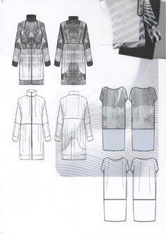 Fashion Design Sketchbook - technical fashion drawings & fabrics; fashion portfolio layout // Amy Dee