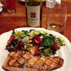 Camelot Chardonnay paired with Salmon and Salad