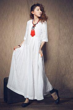 Weiß Leinenkleid, Lockeres Kleid, Strand - kleid, Weißes kleid