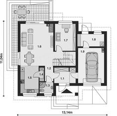 Divorced parents design duplex featuring kids' bedrooms in 'neutral' hallway between mom and dad's homes Cottage Style House Plans, Cottage Plan, Dream House Plans, Shipping Container House Plans, Open Concept Floor Plans, Local Architects, Floor Layout, Small Buildings, Cottage Design