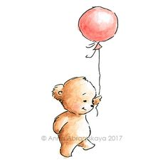 Teddy Bear with Balloon - Printable Art - Nursery Wall Decor - Children's Illustration - Digital file - Instant Download - Greeting Card by AnnaAbramskaya on Etsy