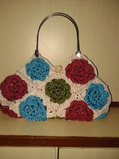 Granny square flower bag