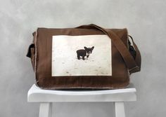 Messenger Bag - French Bulldog - School Bag - Java Brown - Canvas Bag on Etsy, $40.00