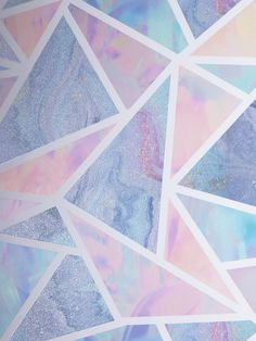 This beautiful Pastel Glitter Geometric wallpaper will make a stylish statement in your home. The design features a contemporary geometric pattern of abstract triangle and quadrilateral shapes containing an iridescent effect in complimentary tones of lilac, pink and blue. The design uses glitter elements in some of the triangles whilst some have a contrasting matte finish framed by a white outline. Perfect for teenager's bedrooms and stylish dressing rooms. Geometric Glitter Wallpaper, Geometric Wallpaper, Colorful Wallpaper, Pink And Purple Wallpaper, Purple Backgrounds, Blue Wallpapers, Blue Purple Bedroom, Pink Room