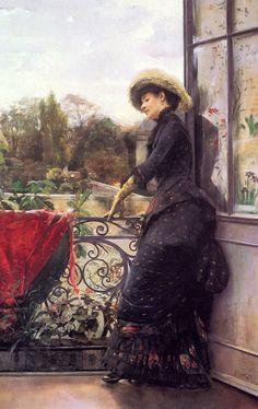 """On the Terrace"" (1884) by Julius Leblanc Stewart (1855-1919)."