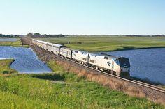 Amtrak Empire Builder at Devils Lake, North Dakota.