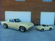 Awesome!  I test drove a 1966 Sunfire Yellow Sting Ray just like this one on the left (but without the big block engine), back in the 1990s when I got to know the guys at Coast Corvette in Anaheim, California. - John Hill