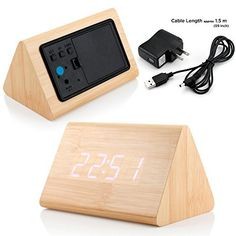 GEARONIC TM Modern Triangle Wood LED Wooden Alarm Digital Desk Clock Thermometer Classical Timer Calendar Updated 2016 Brighter LED - Bamboo (White Light)  #2016 #Alarm #Bamboo #Brighter #Calendar #Classical #Clock #Desk #Digital #GEARONIC #Light #Modern #RusticGrandfatherClock #Thermometer #Timer #Triangle #Updated #White #Wood #Wooden The Rustic Clock