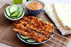 Thai Chicken and Pork Satay with Cucumber Salad (Thinly Sliced Cucumbers, Thinly Sliced Quarter Moons of Red Onion, Sugar, Salt and Rice Wine Vinegar) [Made Sunday, December 7, 2014]