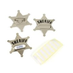 Metal Sheriff's Badges (12/pkg) with name labels so each child knows which badge belongs to him/her.