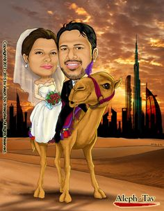 Wedding caricature - Dubai style. Creating different styles of artwork always get us excited. This is one of the reason that we enjoy an love what we do.  To order your digital caricature gifts, visit : https://www.etsy.com/shop/AlephTavgiftshop   #AlephTavart #anniversary_gifts #art #birthday_gifts #caricature #celebration #christmas #gift_ideas #gifts #unique_gifts #wedding_gifts #corporate_gifts #family_portrait #portraits #presents #dubai