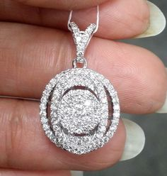 1 CT Round Cluster Diamond Halo Pendant Charm Necklace White Gold Over Women - Famous Last Words Swarovski Crystal Necklace, Diamond Pendant Necklace, Diamond Necklaces, Infinity Pendant, 14k Gold Chain, Necklace Sizes, Selling Jewelry, Halo Diamond, Sterling Silver Pendants