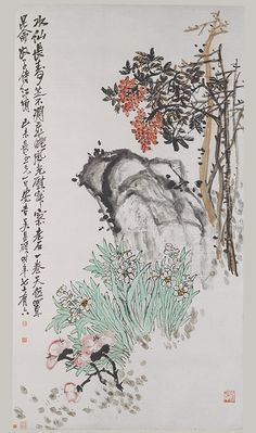 Spring Offerings, dated 1919 Wu Changshi (Wu Changshuo) (Chinese, 1844–1927) Hanging scroll; ink and color on paper