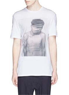 Neil Barrett Stretch Model Print T-Shirt in White for Men