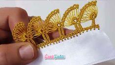 Tığ İşi Sıralı Şiş Oyası Yapılışı Türkçe Anlatımlı Videolu #elişi #örgü #moda Lace Making, Crochet, Diy And Crafts, Gold Rings, Embroidery, Sewing, Knitting, Bracelets, Model