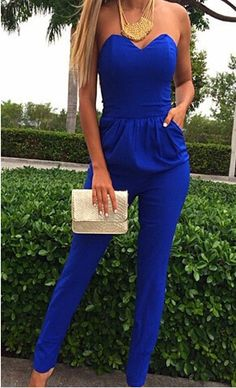 Strapless With Pockets Slim Jumpsuit