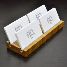 Multiple Business Card holder  Bamboo  4 Slots by woodworksRD, $43.00
