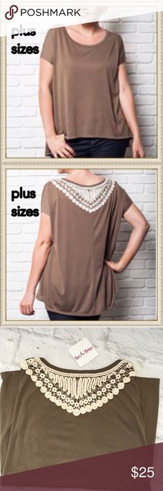 Casual plus size top Last one - casual mocha colored top with crochet details on the back - LAST ONE   ✔️XL bust 52' (runs big) ✔️65%cotton 35% polyester ✔️front length 26' back 28.5' Tops