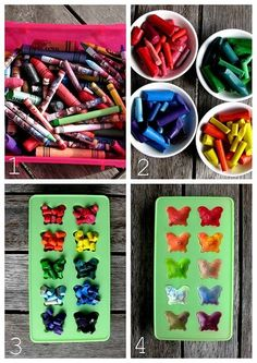homemade crayons. Put in oven at about 175degrees and wait till melted. Best idea ever! No waxy cups/jars/containers from melting and no spills from pouring! Just a silicon mold that extra wax will come right off of!