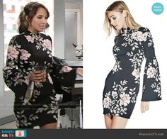 Lily's floral bell sleeve dress on The Young and the Restless.  Outfit Details: https://wornontv.net/66870/ #TheYoungandtheRestless