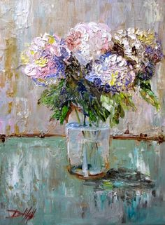 Hydrangeas in a Fruit Jar, painting by artist Delilah Smith