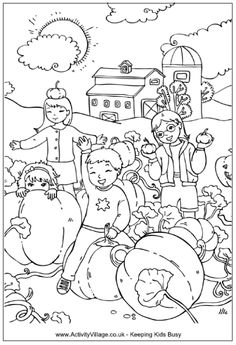 Pumpkin Patch Coloring Page Children Playing In A Field At Harvest Time