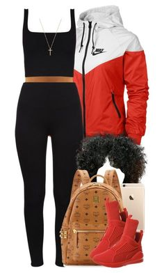 """When it's hot but windy. "" by livelifefreelyy ❤ liked on Polyvore featuring NIKE, MCM, Puma and Gucci"