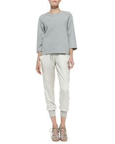 3/4-Sleeve Easy Pullover & Ribbed-Trim Ankle Pants by Donna Karan at Neiman Marcus.