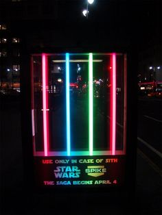 BUS SHELTER FOR FANS ))SPIKE TV Agency: Unknown American TV station, Spike TV decided to brighten up U. bus shelters by installing some colourful lightsaber displays. The installation was to promote Star Wars Episode III: Revenge of the Sith, when. Street Marketing, Guerilla Marketing, Experiential Marketing, Bus Stop Advertising, Clever Advertising, Marketing And Advertising, Advertising Campaign, Marketing Ideas, Advertising Design