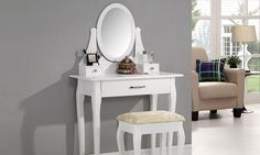 White Dressing Table Adjustable Mirror Stool for sale